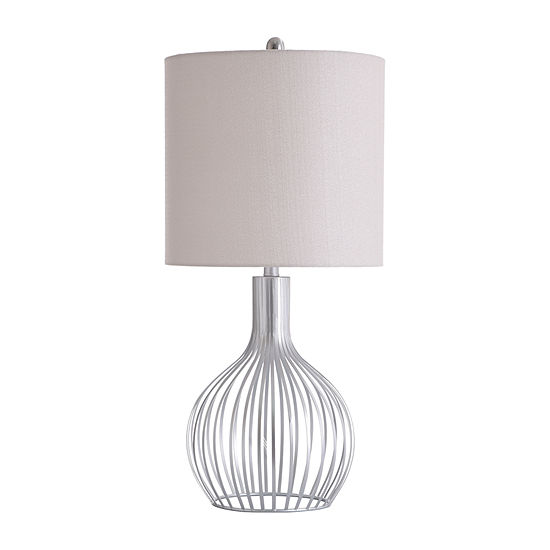 Stylecraft 14 W Silver & White Metal Table Lamp