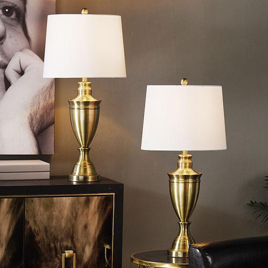 """Stylecraft 15"""" W Brasss - Set Of 2 2-pc. Steel Table Lamp"""