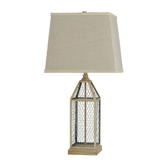 Stylecraft 16 W Washed Pine Steel Table Lamp