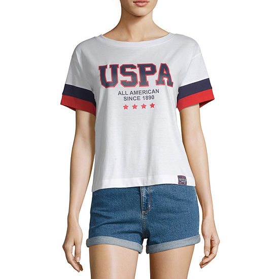 Us Polo Assn Womens Short Sleeve Knit Polo Shirt Juniors