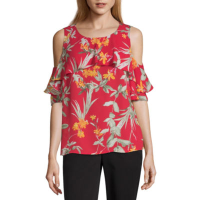 Liz Claiborne Womens Round Neck Elbow Sleeve Blouse