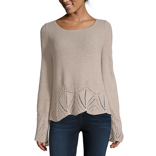 a.n.a Womens Crochet Round Neck Long Sleeve Pullover Sweater
