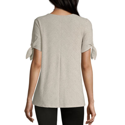 Alyx Womens Round Neck Short Sleeve Knit Blouse