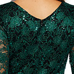 Onyx Nites Long Sleeve Boat Neck Lace Blouse with Belt