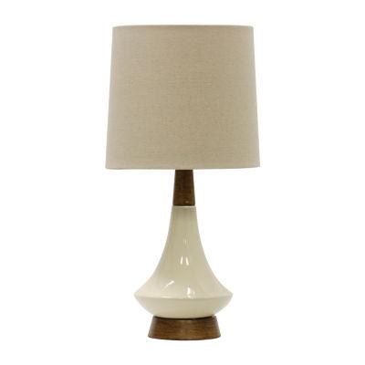 Stylecraft 9.5 W White & Cream Ceramic Table Lamp
