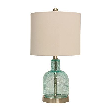 Stylecraft 11 W Seafoam Blue Glass Table Lamp, One Size , Brown