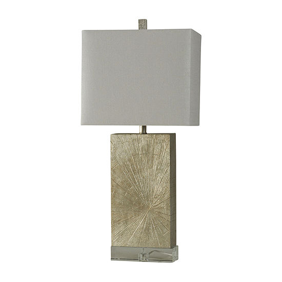 Stylecraft 15 W Silver Wood Polyresin Table Lamp