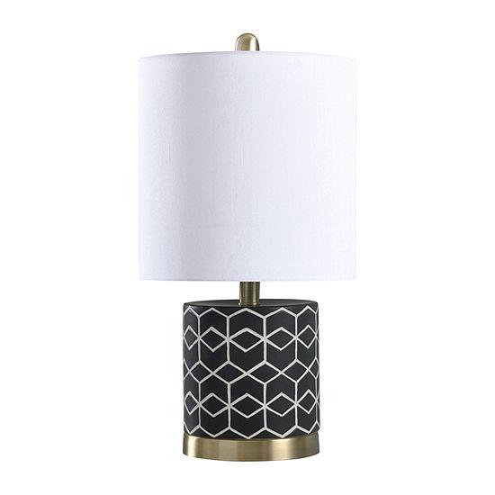 Stylecraft 10 W Black & White & Brass Ceramic Table Lamp