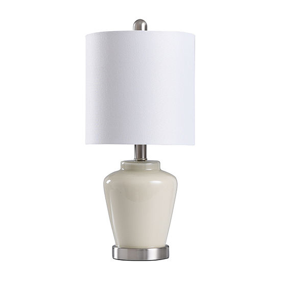 Stylecraft 9 W Cream & Steel Glass Table Lamp