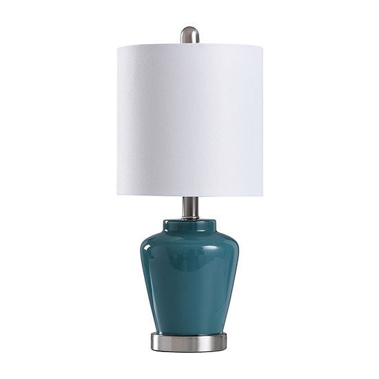 Stylecraft 9 W Teal & Steel Glass Table Lamp