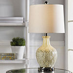 Stylecraft 12 W Off-White & Cream Glass Table Lamp