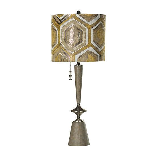 Stylecraft 15.5 W Gray & Steel Polyresin Table Lamp