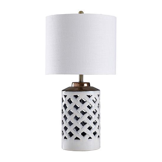 Stylecraft 16.5 W White & Silver Metal Table Lamp