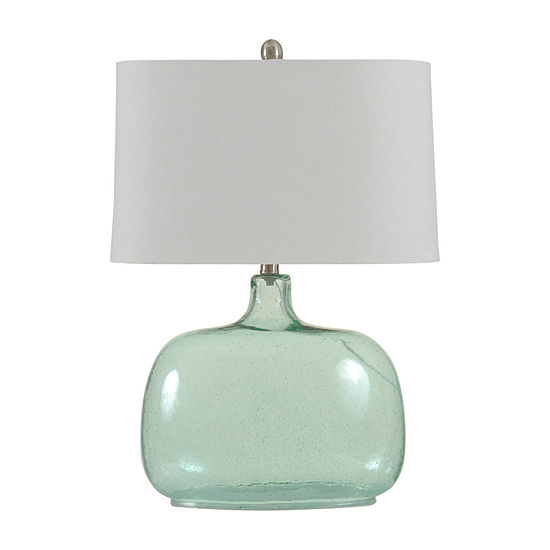 Stylecraft 17 W Teal Seeded Glass Table Lamp
