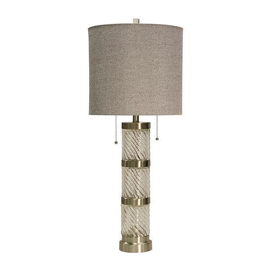 Stylecraft 14.5 W Clear & Steel Glass Table Lamp