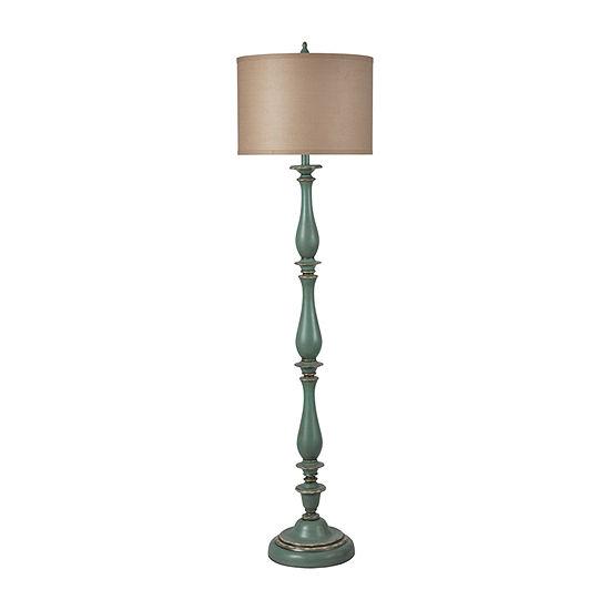 Stylecraft 16 W Distressed Blue Polyresin Floor Lamp