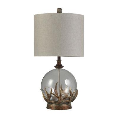 Stylecraft 16 W Bronze Oak Glass Table Lamp