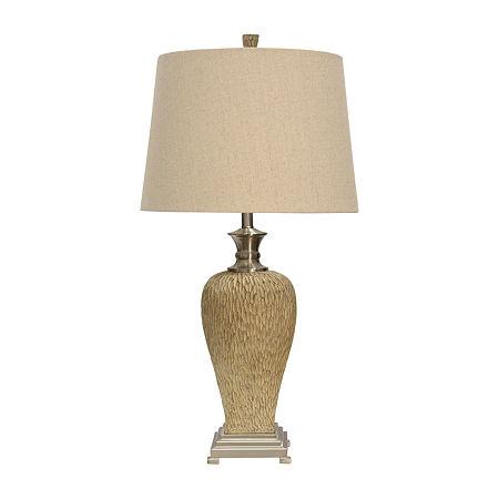 Stylecraft 18 W Beige & Steel Polyresin Table Lamp, One Size , Silver