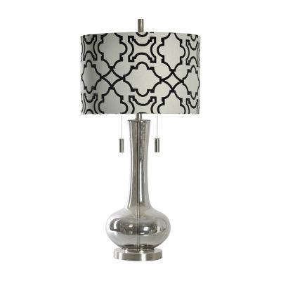Stylecraft 17 W Plated Smoke Glass Table Lamp
