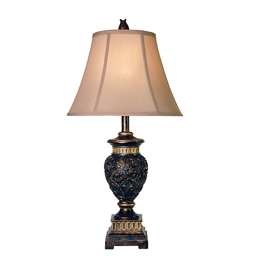 Stylecraft 15 W Dark Blue And Gold Polyresin Table Lamp