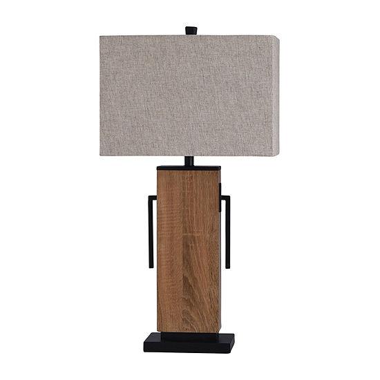 Stylecraft Brigg 17 W Black & Natural Wood Table Lamp