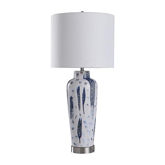 Stylecraft Romani 17 W White & Indigo Ceramic Table Lamp