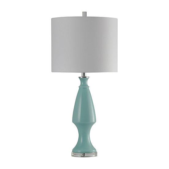 Stylecraft 15 W Lt Blue & Chrome Glass Table Lamp