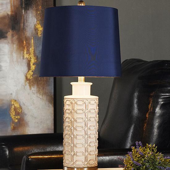 Stylecraft 13 W Cream & Blue Ceramic Table Lamp