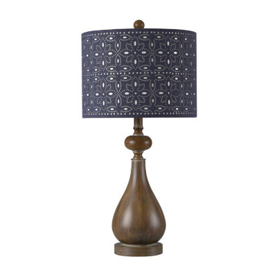 Stylecraft 13 W Brown Faux Wood Polyresin Table Lamp