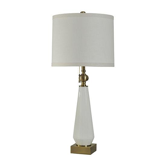Stylecraft 17 W White Glass Steel Table Lamp