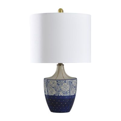 Stylecraft 13 W Cream & Blue & Gold Ceramic Table Lamp