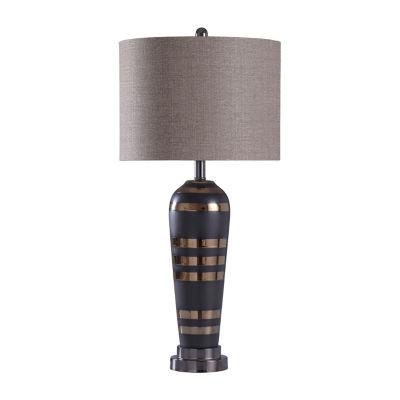 Stylecraft 14.5 W Black & Chrome Steel Table Lamp