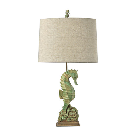 Stylecraft 16 W Green & Tan Polyresin Table Lamp