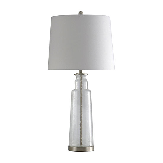 Stylecraft 16 W Clear & Steel Glass Table Lamp