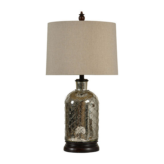 Stylecraft 15 W Antique Silver Glass Table Lamp