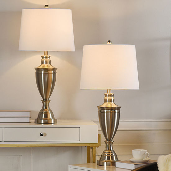 "Stylecraft Urn 15"" W Nickels - Set Of 2 2-pc. Steel Table Lamp"