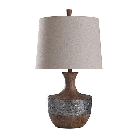 "Stylecraft Darley 17"" Chestnut & Silver Polyresin Table Lamp"