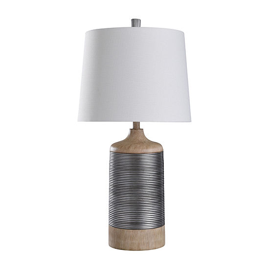 "Stylecraft Haverhill 16"" W Tan & Silver Polyresin Table Lamp"