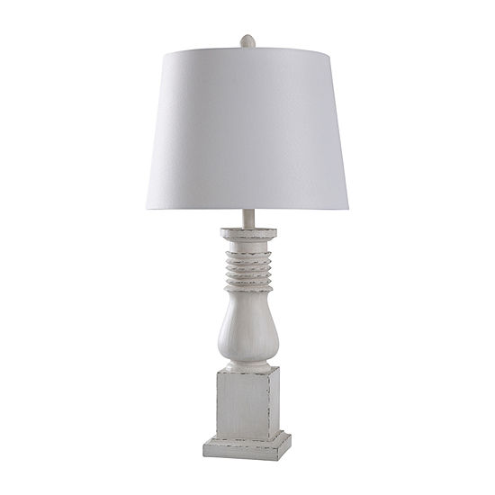 """Stylecraft Istress 16"""" W Old White Polyresin Table Lamp"""