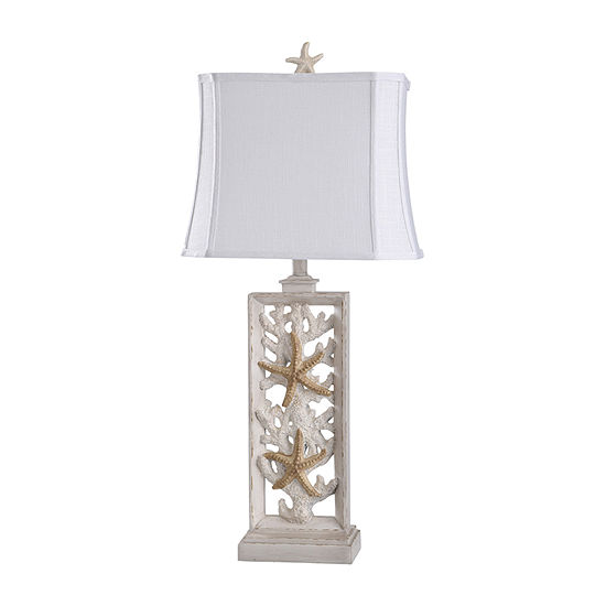 """Stylecraft South Cove 15"""" W Cream Polyresin Table Lamp"""