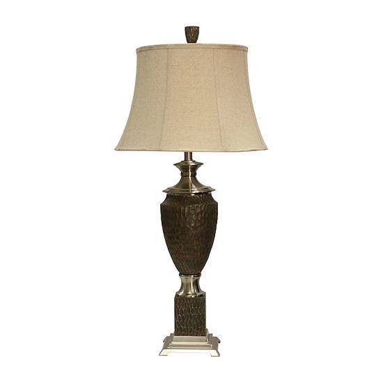 Stylecraft 18 W Dk Brown & Steel Steel Table Lamp