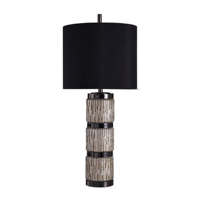 Stylecraft 15.5 W Black & Silver Steel Table Lamp