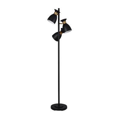 Stylecraft 14 W Black & Gold Steel Floor Lamp