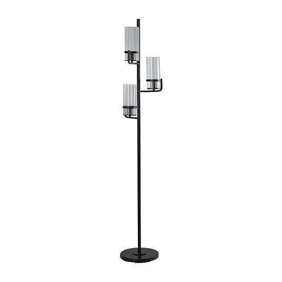 Stylecraft 11.8 W Satin Black Steel Floor Lamp