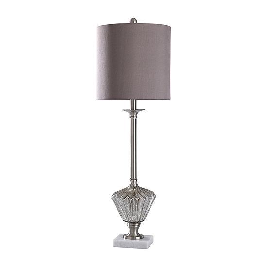 Stylecraft Bishop 11 W Chrome & White Glass Table Lamp