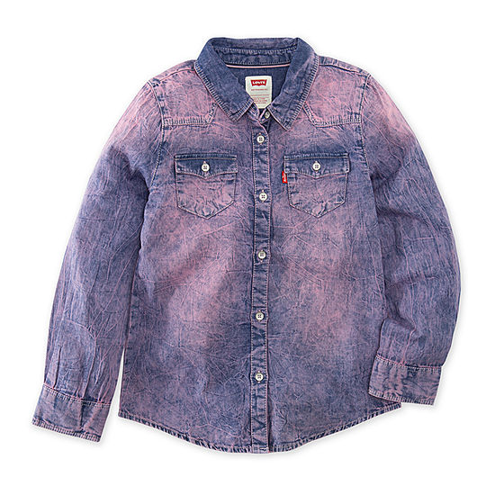 Levis The Western L S Denim Top Girls Long Sleeve Button Front Shirt