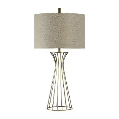 Stylecraft 18 W Antique Brass & Beige Metal Table Lamp