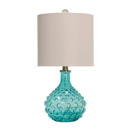 Stylecraft 10 W Blue & Off-White Glass Table Lamp