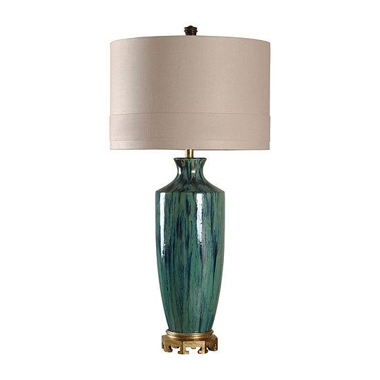 Stylecraft 19 W Blue & Gold Ceramic Table Lamp