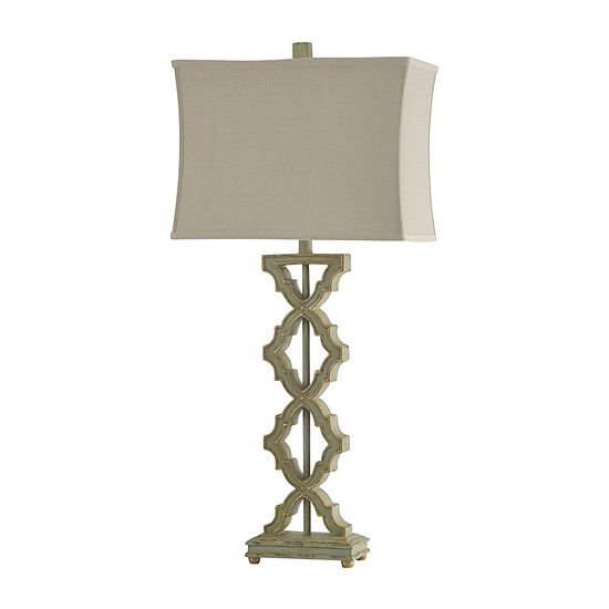 Stylecraft 17 W Saray Sage Polyresin Table Lamp